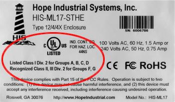 Hazardous location serial label for industrial monitors