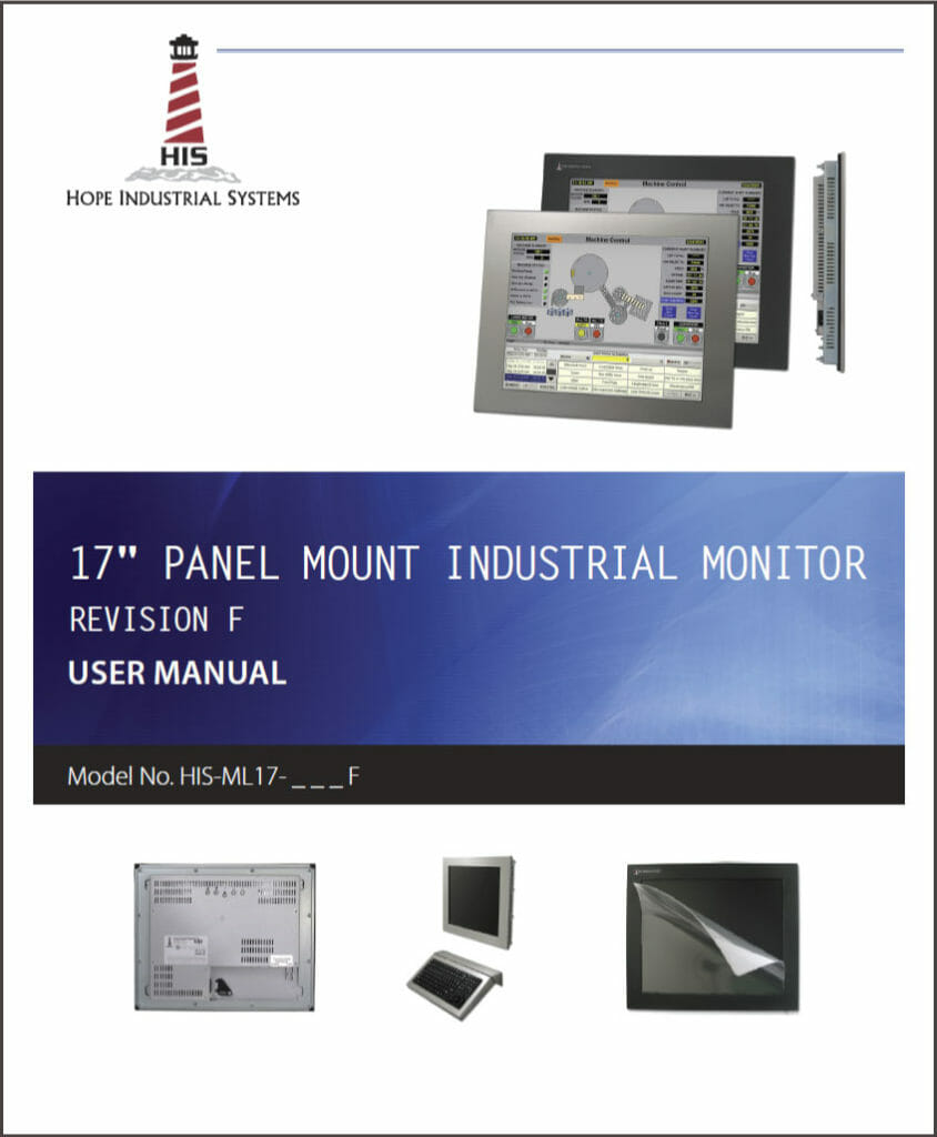 "17"" Panel Mount Industrial Monitor User Manual"