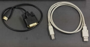 1.5' HDMI to DVI cable and standard USB cable