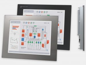 "17"" Panel Mount Industrial Monitors and IP65/IP66 Rugged Touch Screens, front and side views"