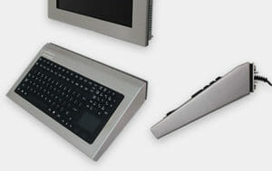 New Fixed Wall Mount Keyboard, shown in Stainless Steel with R3 Keypad
