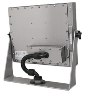 Industrial KVM Extender mounted to rear of Universal Mount Monitor
