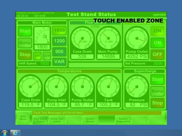 an illustrated example of a Touch Zones configuration that would only allow touch within the confines of the HMI software