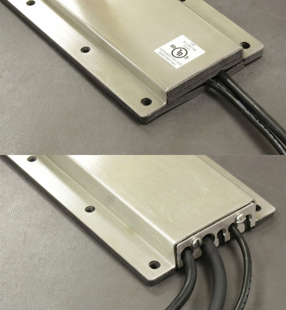 NEMA 2 (top) and NEMA 4/4X (bottom) Cable Exit Cover Plate Options