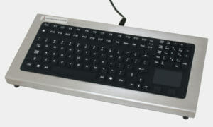 Benchtop Full-Travel Keyboard with Capacitive Touchpad