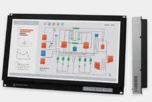 """19.5"""" Widescreen Rack Mount Industrial Monitors and IP20 Rugged Touch Screens, front and side views"""