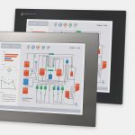 """17"""" Panel Mount Industrial Monitors and IP65/IP66 Rugged Touch Screens, front and side views"""