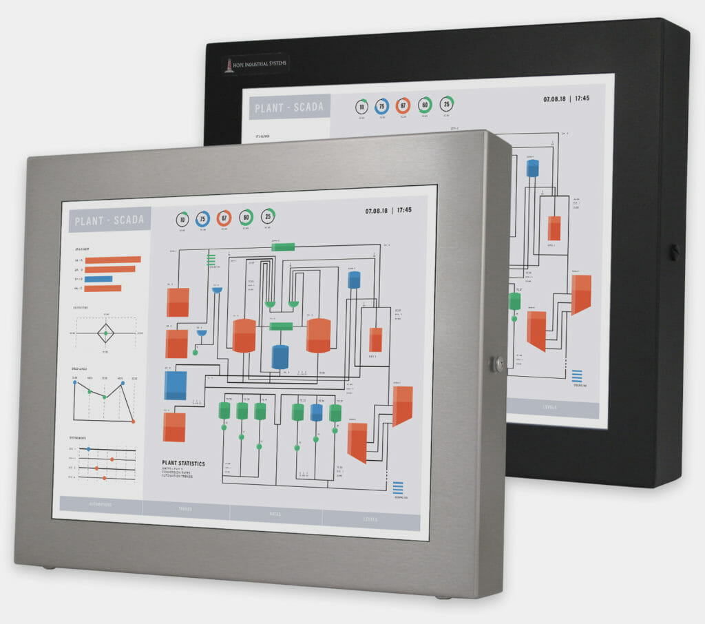 """17"""" Universal Mount Industrial Monitors and IP65/IP66 Rugged Touch Screens, front view"""