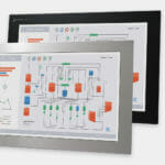 "22"" Widescreen Panel Mount Industrial Monitors and IP65/IP66 Rugged Touch Screens, front and side views"