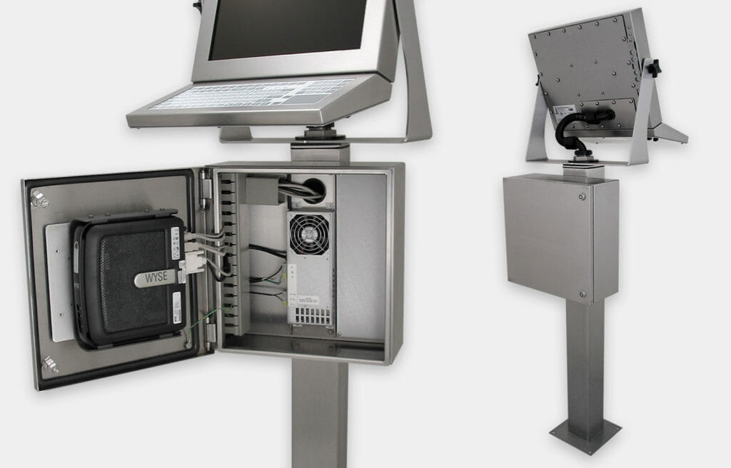 Industrial Enclosures for Thin Clients and Small PCs, close-up of front and rear views